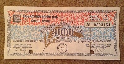 Bosnia Military Banknote. 2000 Dinars. Signed & Punched