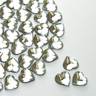Diamante Me Glass Heart Hotfix Flat Back Rhinestone gems 50 per pack