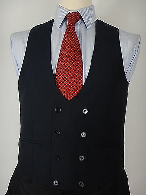 Mens Navy Blue Faint Stripe Double Breasted style Waistcoat Vest Size UK 38 aa