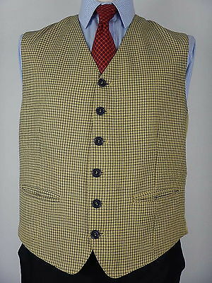 Mens Golden Yellow Mustard Fine Check Country Waistcoat Vest Size 42