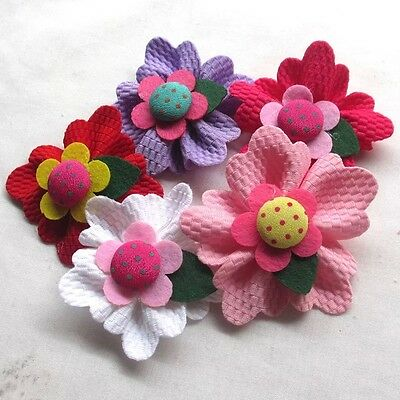5PCS Large 6CM Padded Felt Ribbon Flowers Bow Appliques Decor Mix #370