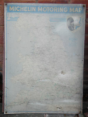 Vintage Genuine Michelin Motoring Map Tin Sign Pre 1959 Very Rare