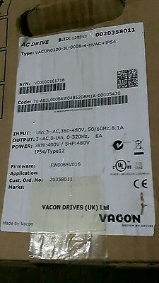 Vacon 3Ph 3Kw Inverter Vacon0100-3L-0008-4-Hvac New 180 Day Warranty