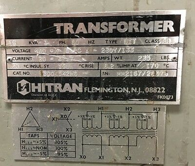 15 KVA Hitran 460 x 230/133 transformer 3 Phase Model D3001542H6