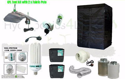 Best Complete CFL Dual Hydroponic Grow Room Tent Fan Filter Light Kit 80x80x180