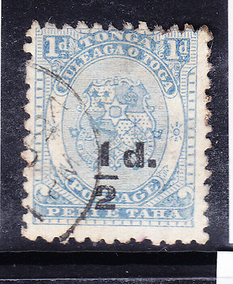TONGA 1893 SG19 1/2d on1d dull blue P12x111/2 fine used little off-centre cat£50