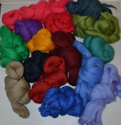 Assorted colours Dyed Carded Merino Wool Tops for Felting / Spinning 50gm each