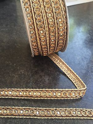 1M  Gold Braid Lace Ribbon Trim With Silver Diamante 11Mm Wide