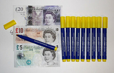 10 x COUNTERFEIT PEN Marker fake money bank note tester detector security pens