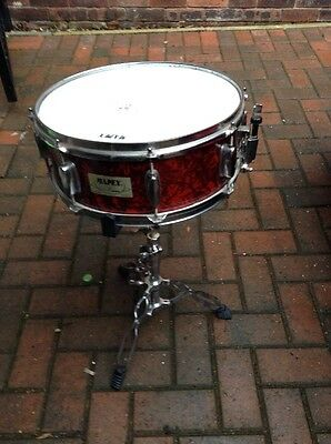 Free P&P. Mapex 14x5 Wood Shell Snare Drum w Stand for Drum Kit