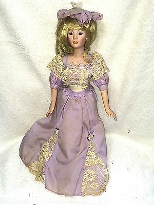 "Very Cute 16"" Heritage Mint 1989 Bisque Head Arms Legs Cloth Body Doll Purple Dr"