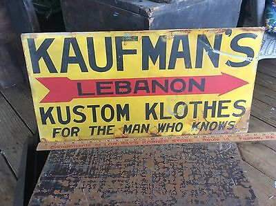 Vintage Tin Advertising Sign For Local Clothing Store , Kaufman's