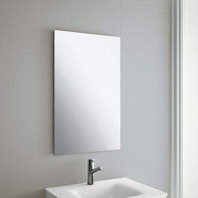 Plain Frameless Bathroom Mirror with Wall Hanging Fixings