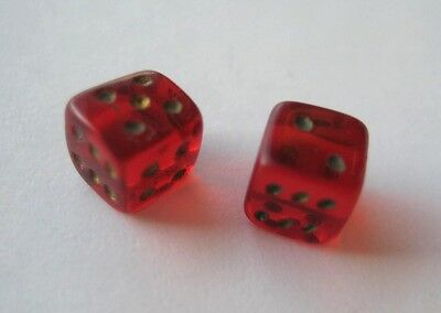 VINTAGE Miniature Gambling TINY Pair GLASS DICE Lot of 2 RED Antique Czech