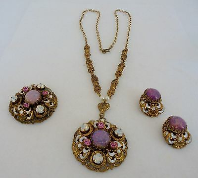 West Germany Vintage Rhinestone Necklace-Earrings and Brooch