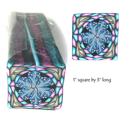 """Polymer clay cane Large 1""""  Square by 3"""" Long Millefiori design by CHarm #sq02"""