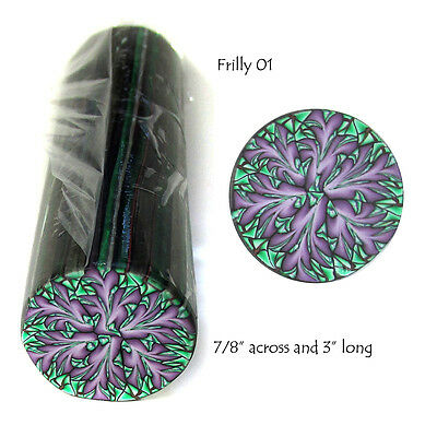 "Polymer clay cane Large 7/8"" x 3"" Long Frilly design by CHarm #FR01"