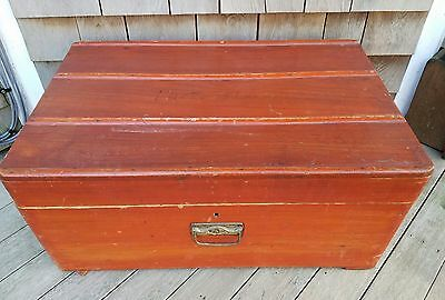 Antique wood ribbed trunk