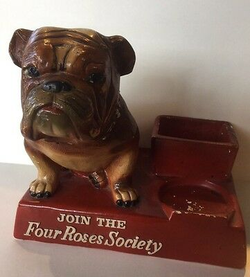Vintage 1950's Chalk Four Roses Whiskey Bourbon Bulldog Advertising Bar Display