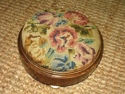 Antique embroidered footstool Victorian? lovely ceramic feet decorative/useful