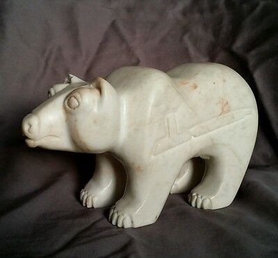 Bear Carving by GEORGE GHOST DOG Sioux Tribe Peace Pipe Black Hills Alabaster