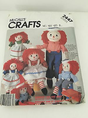 Vintage Raggedy Ann & Andy Doll Pattern #2447 Doll Clothes Crafts Uncut Complete