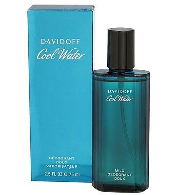 COOL WATER by Davidoff cologne Mild Deodorant Spray 2.5 oz / 75 ML NEW IN BOX
