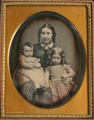 Daguerreotype Mother And Children. Exquisitely Tinted. Quarter Plate, Full Case.