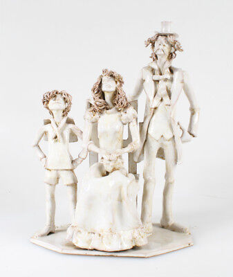 Stunning Italian Pottery Statue Of Well-Dressed Family Signed By Dino Bencini