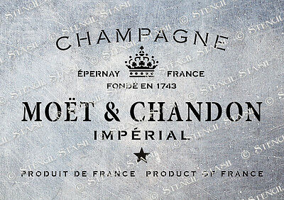 LARGE French Moet Champagne STENCIL A3 MC Vintage Wine Furniture Wood Fabric Box