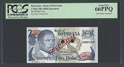 Botswana 2 Pula ND 1982 P7bs2 Signature 4 Specimen TDL Uncirculated