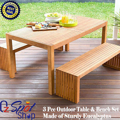 New 3 Piece Outdoor Family Picnic Table & Bench Set Wooden Made of Eucalyptus