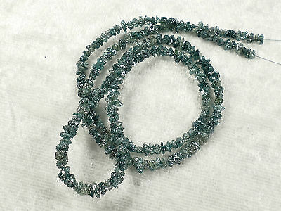 22ct Raw natural blue Diamond beads strand 40 cm Africa drilled necklace #PB977