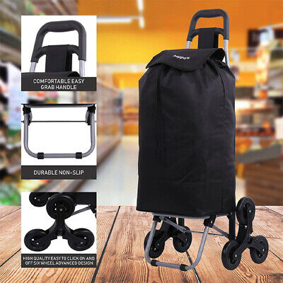 6 Wheel Stair Climber Lightweight Funky Folding Shopping Trolley with Tri-Wheels