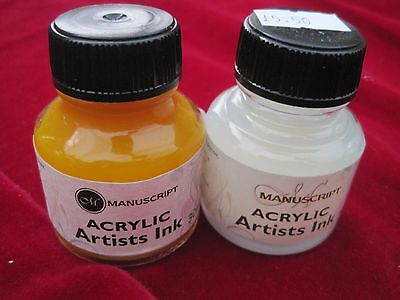 Manuscript -  Acrylic artists ink -  2 bottles - Yellow & White