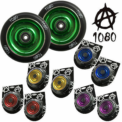 1080 Stunt Scooter Wheels 100mm Solid Alloy Core (Pair)