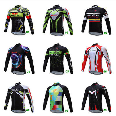 Men's Cycling Jersey Top Bike Bicycle Long Sleeve Breathable Shirt 3 Pockets