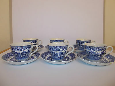 6 x Barratts of Staffordshire Cups and Saucers Willow Design Lovely