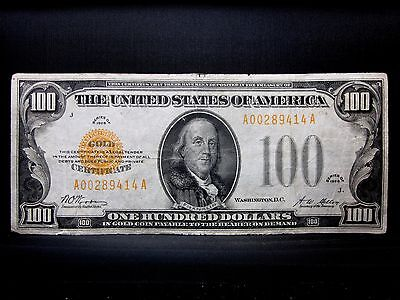 1928 $100 Gold Certificate ✪ Vf Very Fine ✪ L@@k Now Yellow Seal 414 ◢Edelmans◣