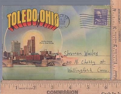 VINTAGE used post card SOUVENIR FOLDER TOLEDO, OH