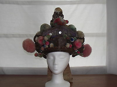 Vintage Eastern ceremonial parade hat in purple, China?  India?  P