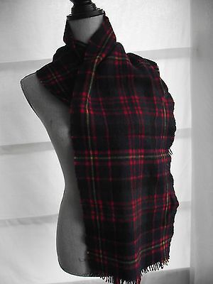 Vintage Scottish plaid tartan wool scarf multicolour (black stewart?) fringe  P
