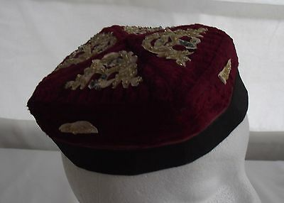 Handmade vintage folk ethnic square pillbox cap hat – burgundy beaded  P