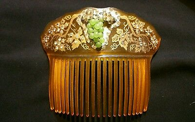 antique french hair piece marked gold & silver