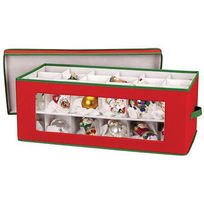 Ornament Chest - Red,2-Tier Storage Box w/ Dividers for Christmas Tree Ornaments