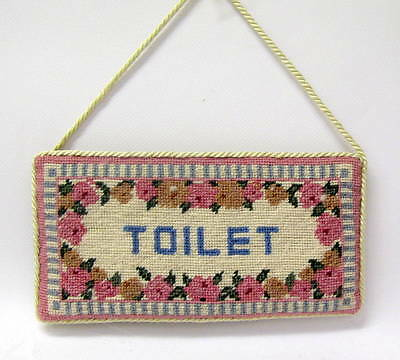 Vintage Cross Stitch Work Embroidery Toilet Sign