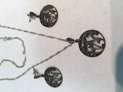 Vintage MARCASITE Earrings And Pendant