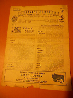 Leyton Orient Vs Derby County 58/59 (Second Division)