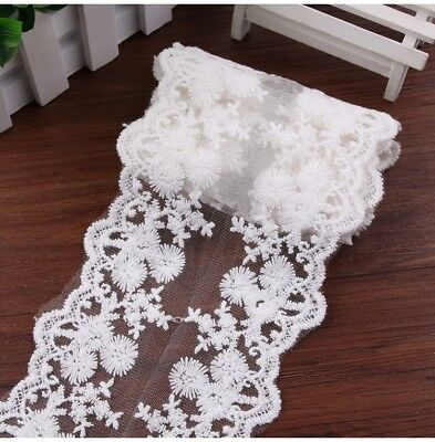 White Vintage Cotton Lace Edge Trim Wedding Mesh Ribbon Applique Sewing Craft