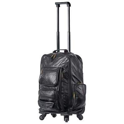 Black Leather Rolling Suitcase Bag Carry-On Backpack Spinner Trolley Luggage